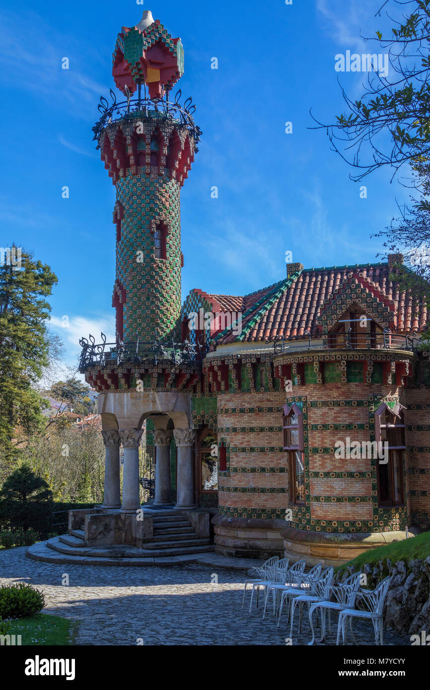 Anton Gaudi's El Capricho, a modernista landmark in the coastal town of Comillas in the Cantabria region of northern - Stock Image