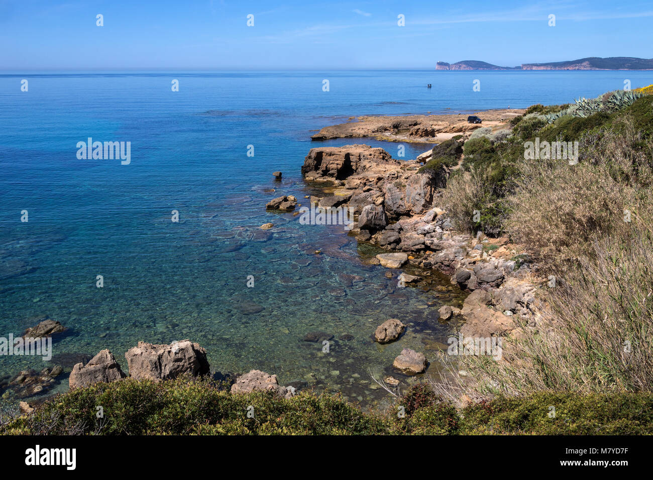 The scenic beauty of the rocky western coastline of Sardinia, Italy. - Stock Image