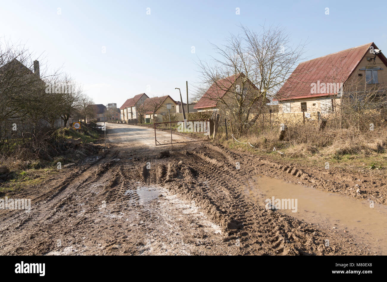 Copehill Down FIBUA village military training area, Fighting In Built Up Areas, Chitterne, Salisbury Plain, Wiltshire, - Stock Image