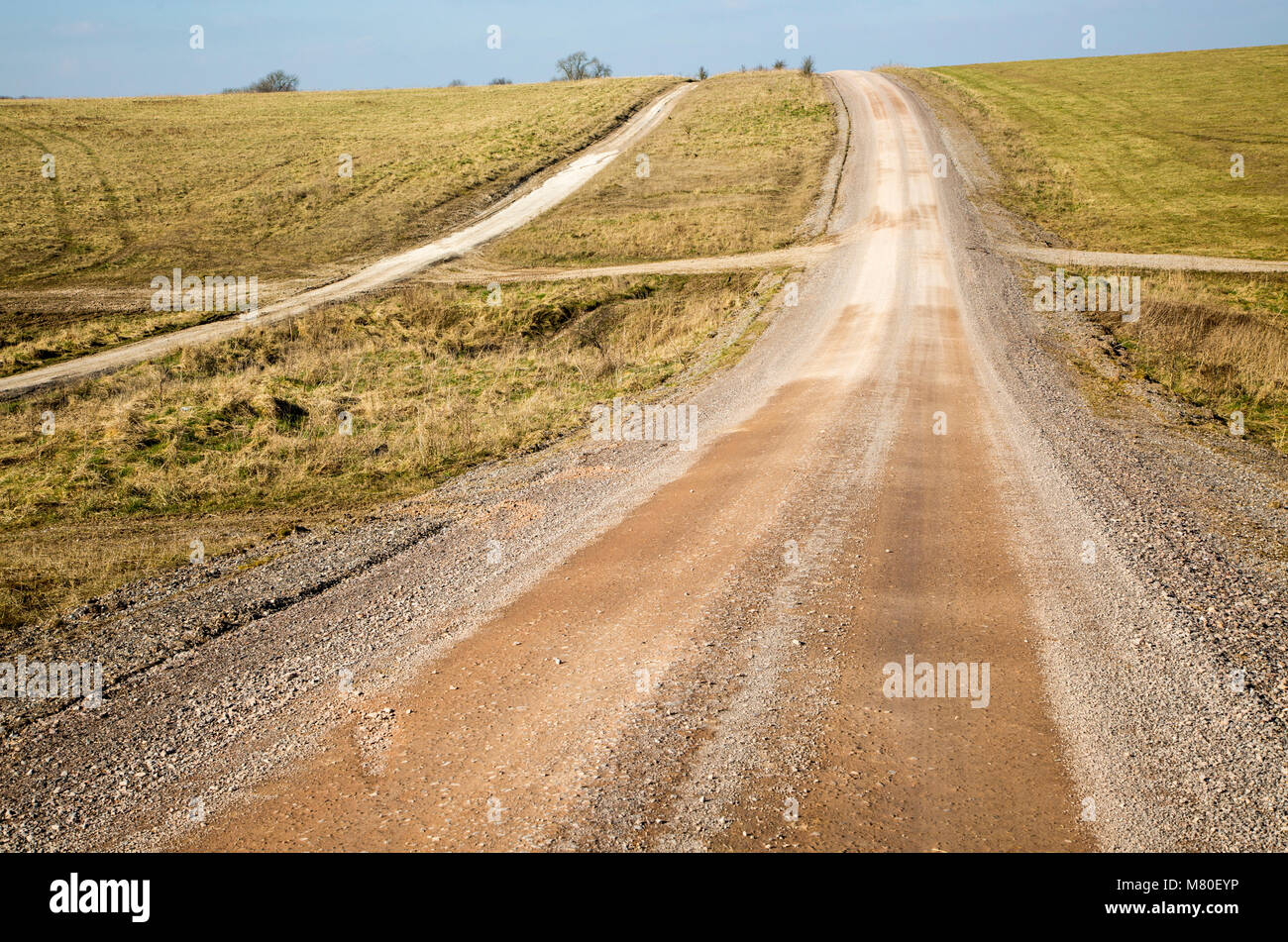 Unsurfaced road track crossing chalk landscape scenery near Chitterne, Salisbury Plain, Wiltshire, England, UK - Stock Image