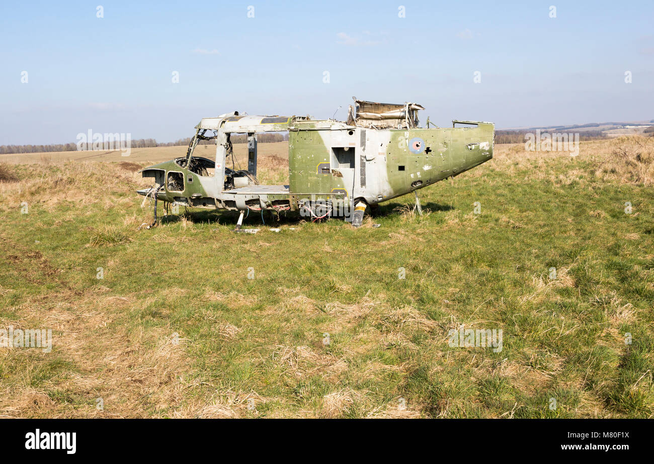 Westland Lynx helicopter wreck at Copehill Down FIBUA village military training area, Fighting In Built Up Areas, - Stock Image
