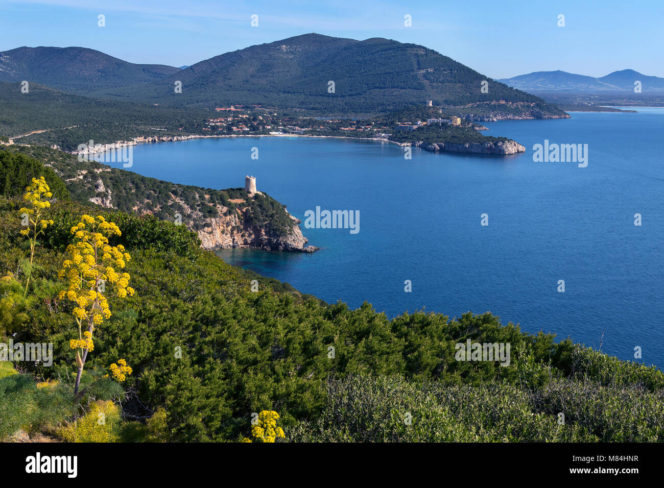 View from the headland of Capo Caccia on the northwest coast of Sardinia in Sassari Province, Italy. - Stock Image