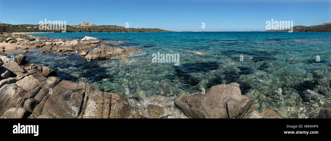 Panoramic view of the Baja Sardinia coastline near Palau on the northeast coast of the Island of Sardinia - Italy - Stock Image