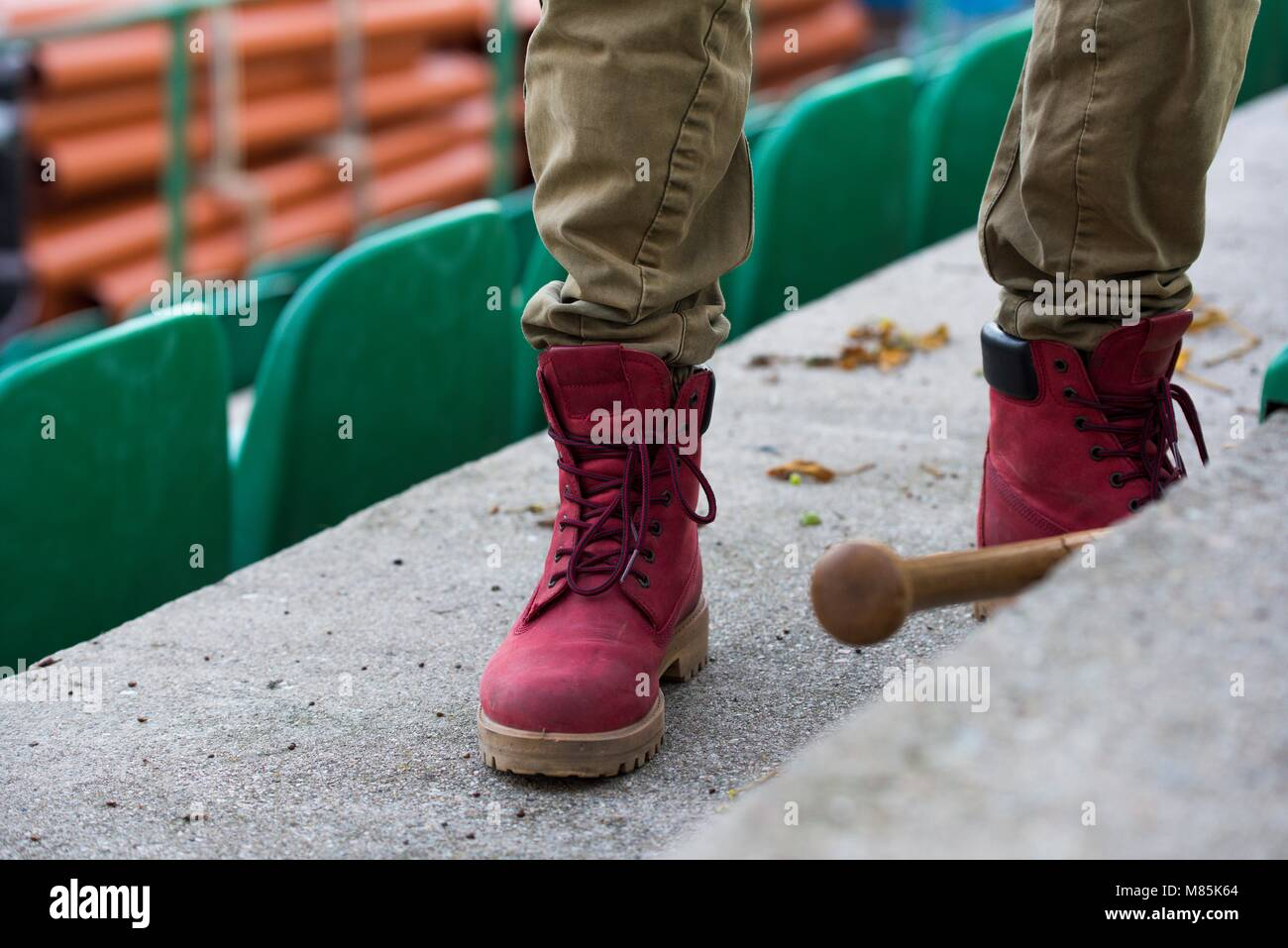 Male new modern military Red trappers used by hooligans during the riot - Stock Image