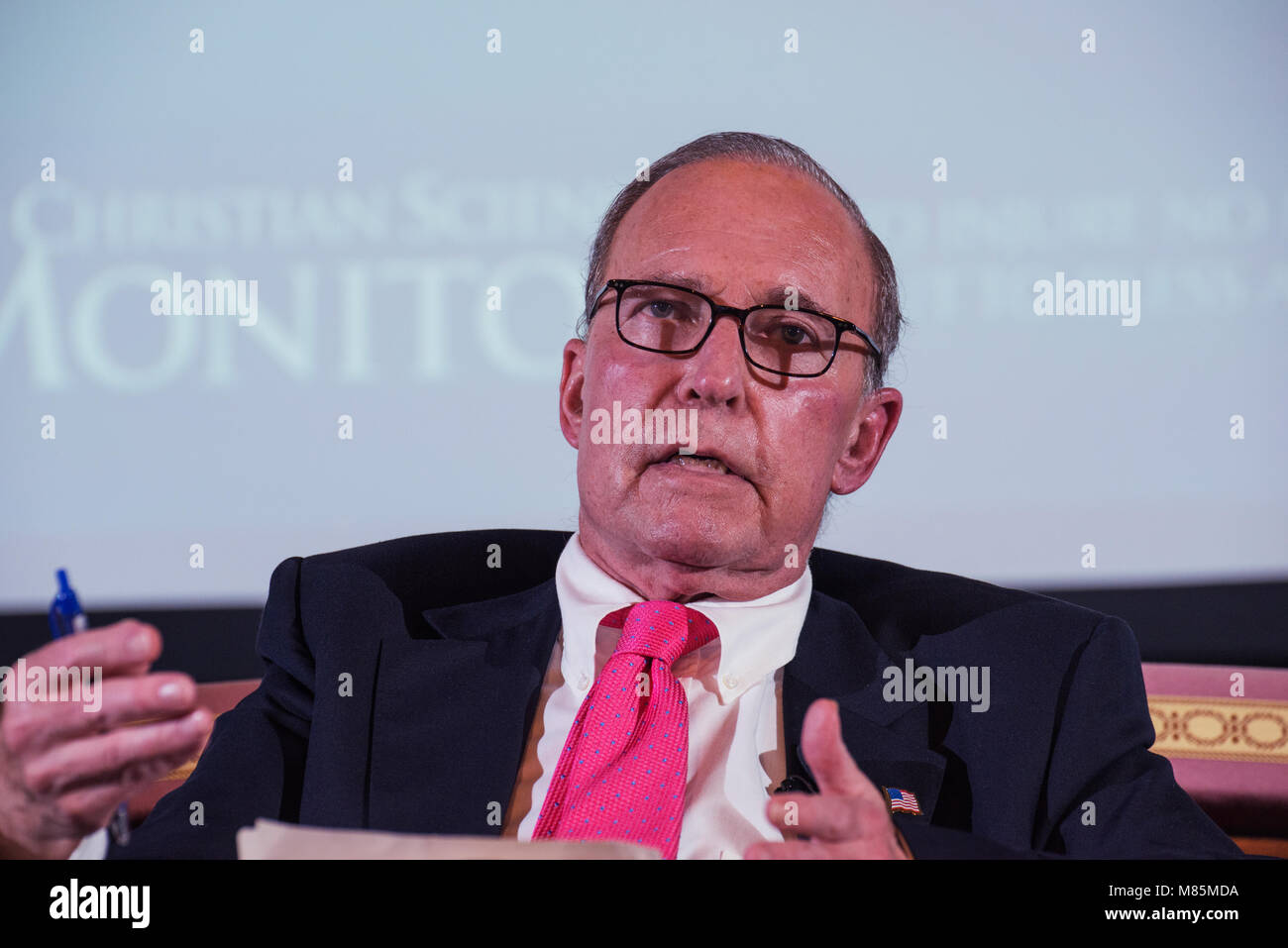 Larry Kudlow on stage during panel discussion 'Finding Common Ground on Taxes' in Nantucket, MA in July - Stock Image