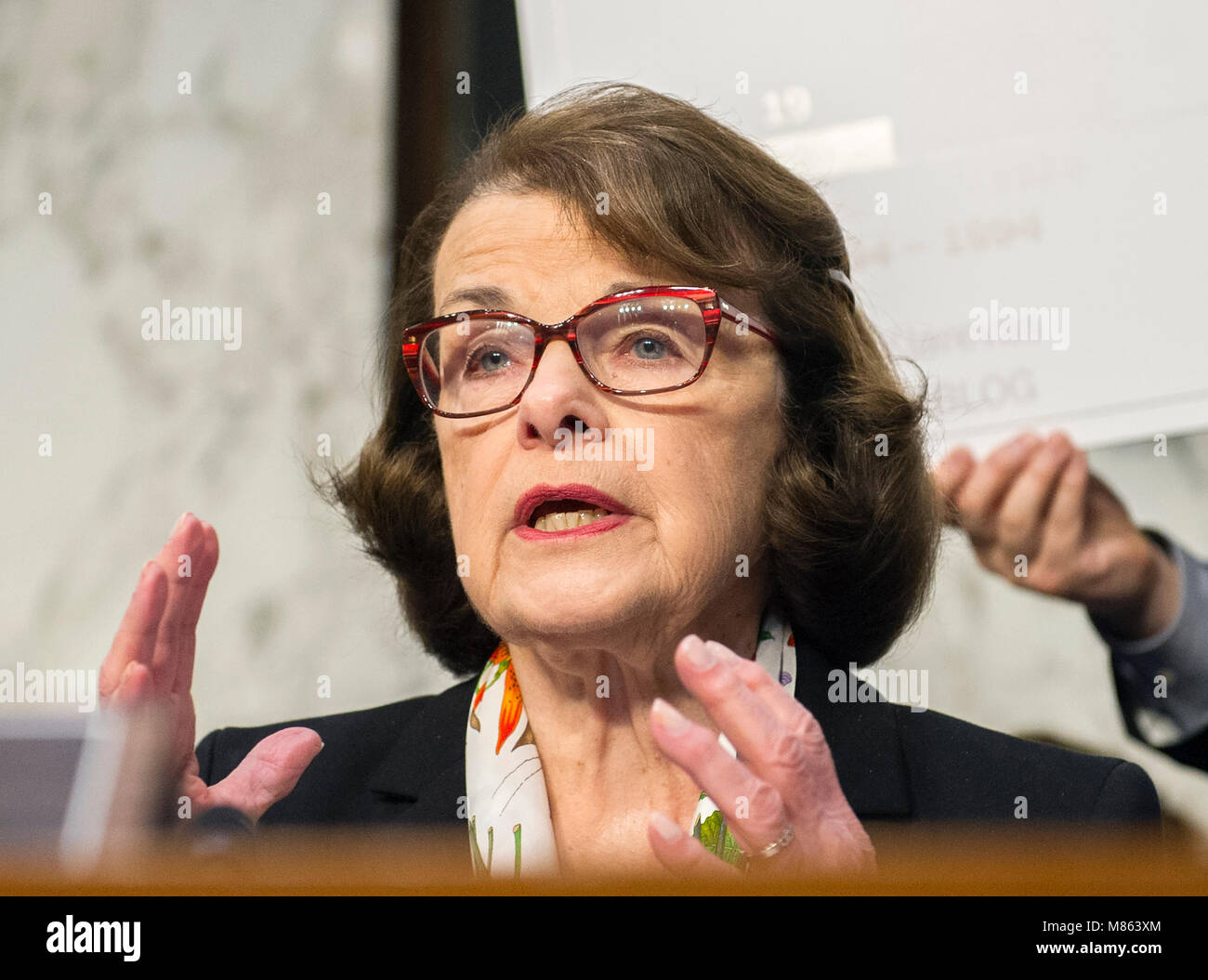 United States Senator Dianne Feinstein (Democrat of California) makes an opening statement before hearing testimony - Stock Image