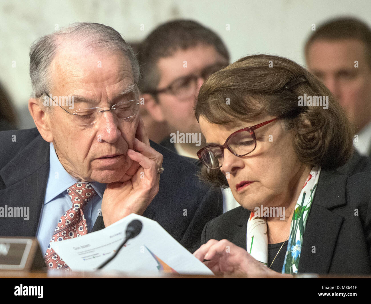 United States Senators Charles Grassley (Republican of Iowa), left, and Dianne Feinstein (Democrat of California), - Stock Image