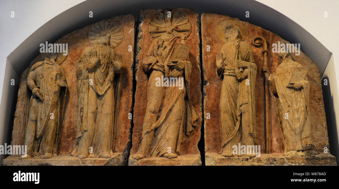 Tympanum relief from St. Pantaleon's Chrurch in Cologne, c. 1150-1175. Limestone. Schnütgen Museum. Cologne, - Stock Image