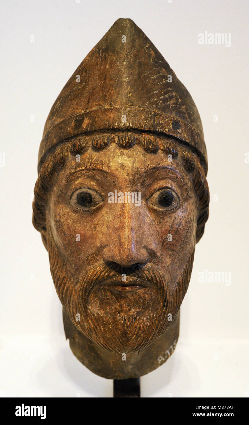 Head of a holy Bishop. Cologne, c. 1160-1180. Oak, polychrome. Schnütgen Museum. Cologne, Germany. - Stock Image