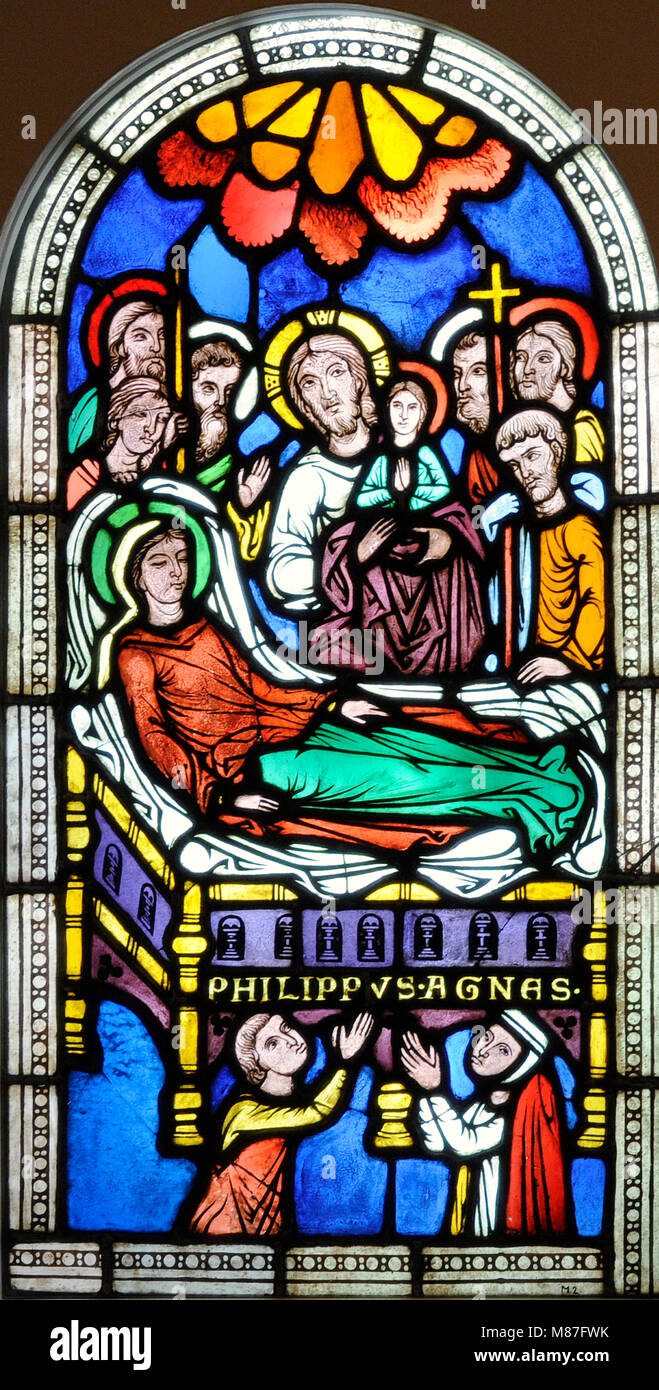 The Dormition of the Virgin Mary. Cologne, Germany, c. 1250-1260. Stained glass. Schnütgen Museum. Cologne, - Stock Image
