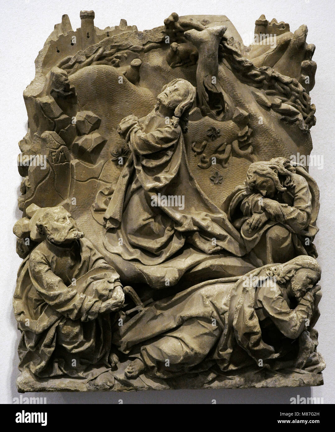 Jesu's prayer. Christ on the Mount of Olives, from the sacrament house of Cologne Cathedral, Germany. Sculptural - Stock Image