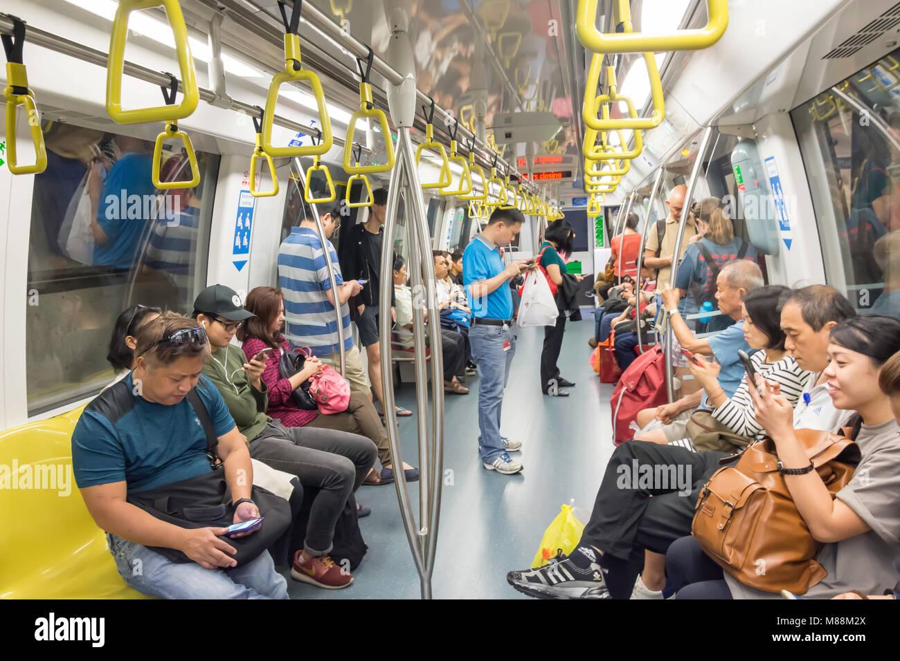 Carriage interior on Singapore Mass Rapid Transit (MRT), Serangoon, North-East Region, Singapore - Stock Image