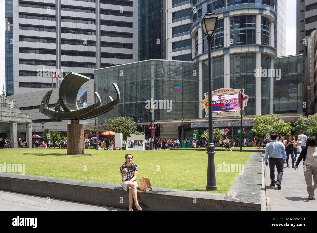 Centre square of Raffles Place, Downtown Core, Central Area, Singapore Island (Pulau Ujong), Singapore - Stock Image