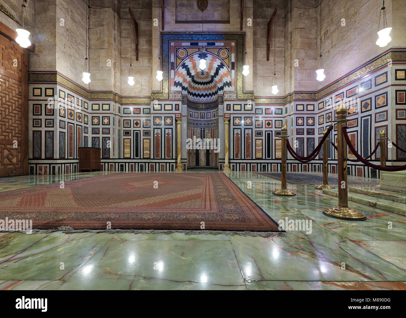 Cairo, Egypt - December 16, 2017: Interior of the tomb of the Reza Shah of Iran, Al Rifaii Mosque (Royal Mosque), - Stock Image
