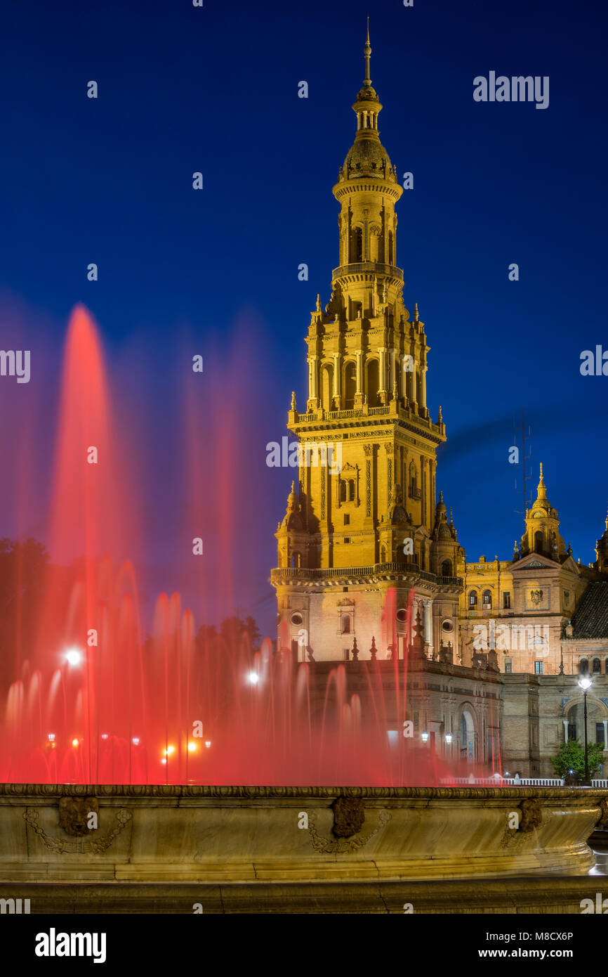 Fountain in the Plaza de Espana in the city of Seville in the Andalusia region of Spain. UNESCO World Heritage Site. - Stock Image