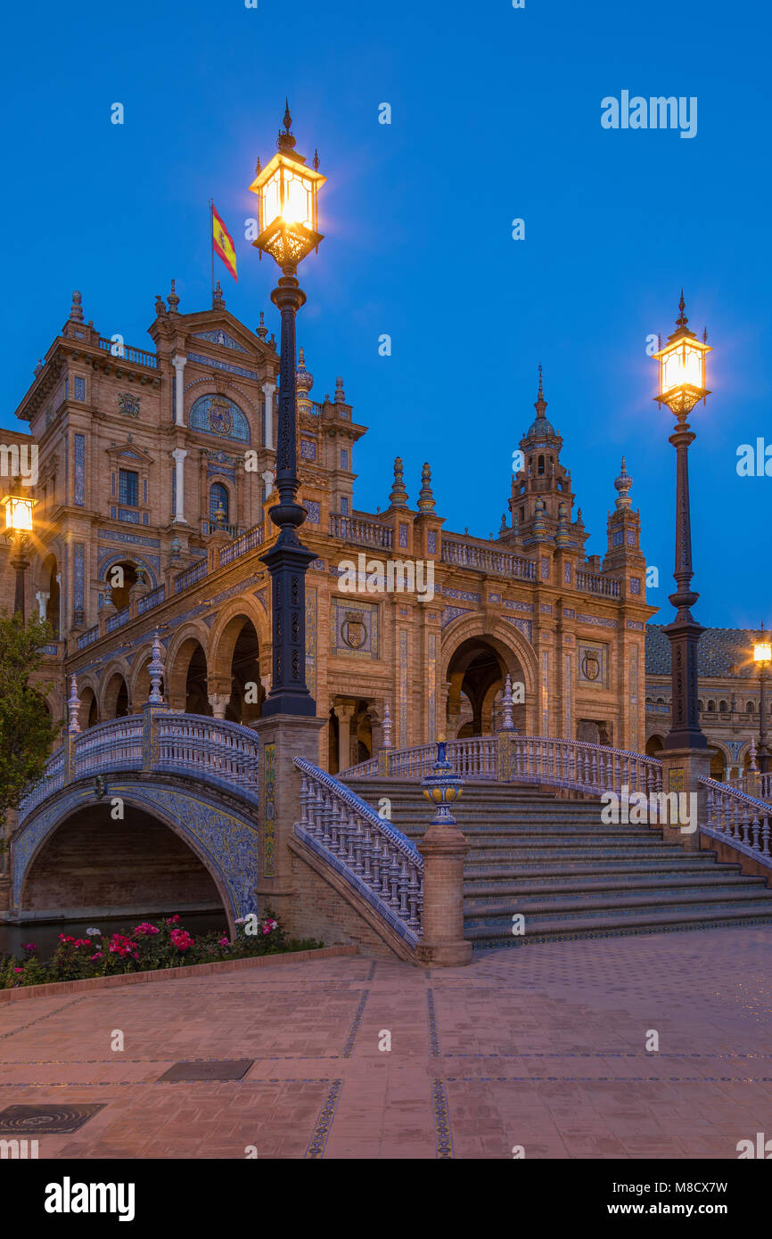 Plaza de Espana in the city of Seville in the Andalusia region of Spain. - Stock Image