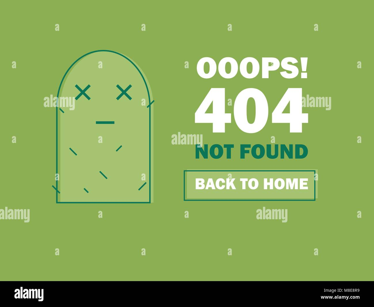 404 Error Page or File not Found icon. Cute green Cactus. UX UI vector for web - Stock Image