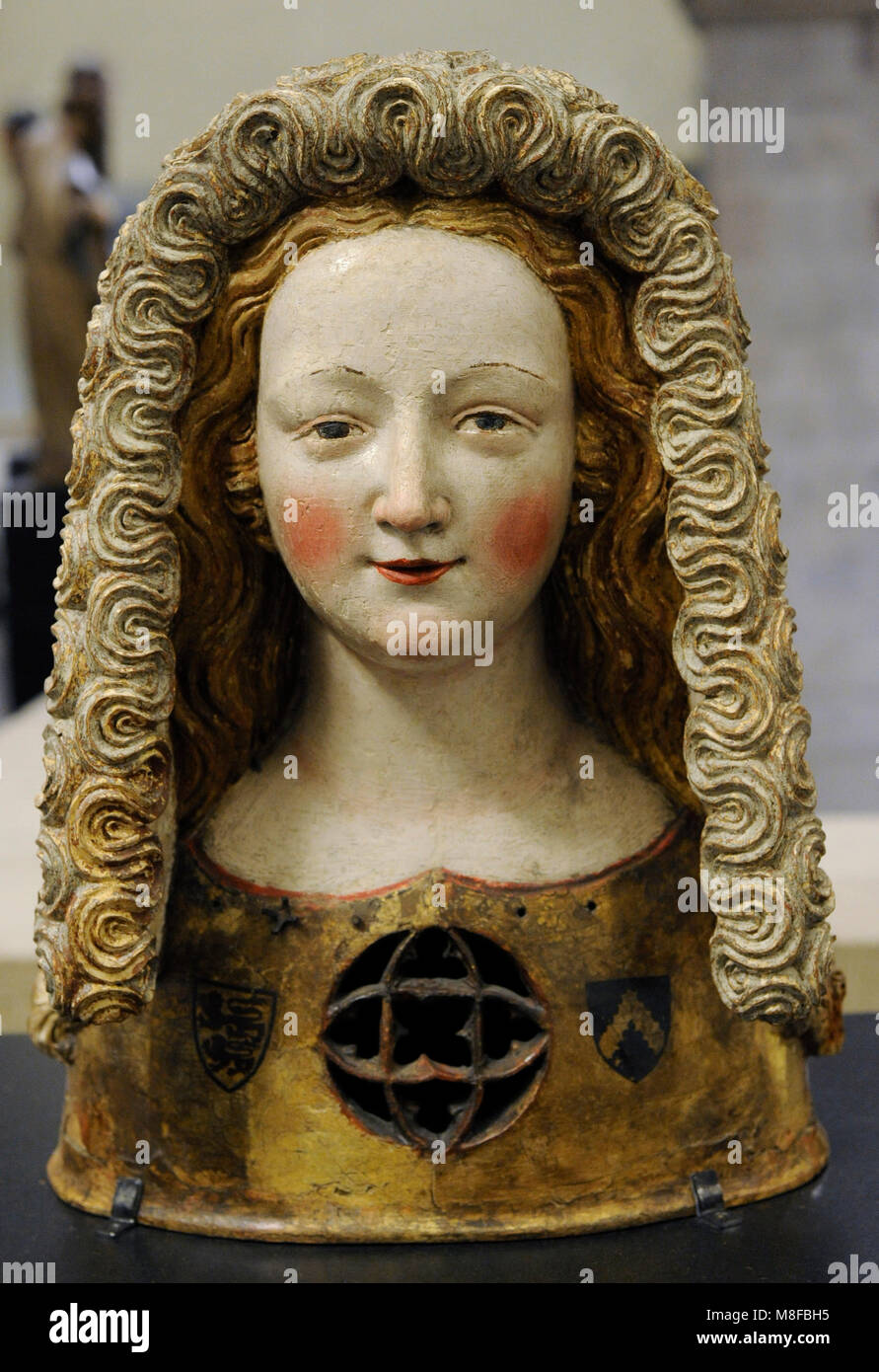 Reliquary bust with a Kruseler veil, c. 1350. Cologne. Walnut, polychrome. Schnütgen Museum. Cologne. Germany. - Stock Image