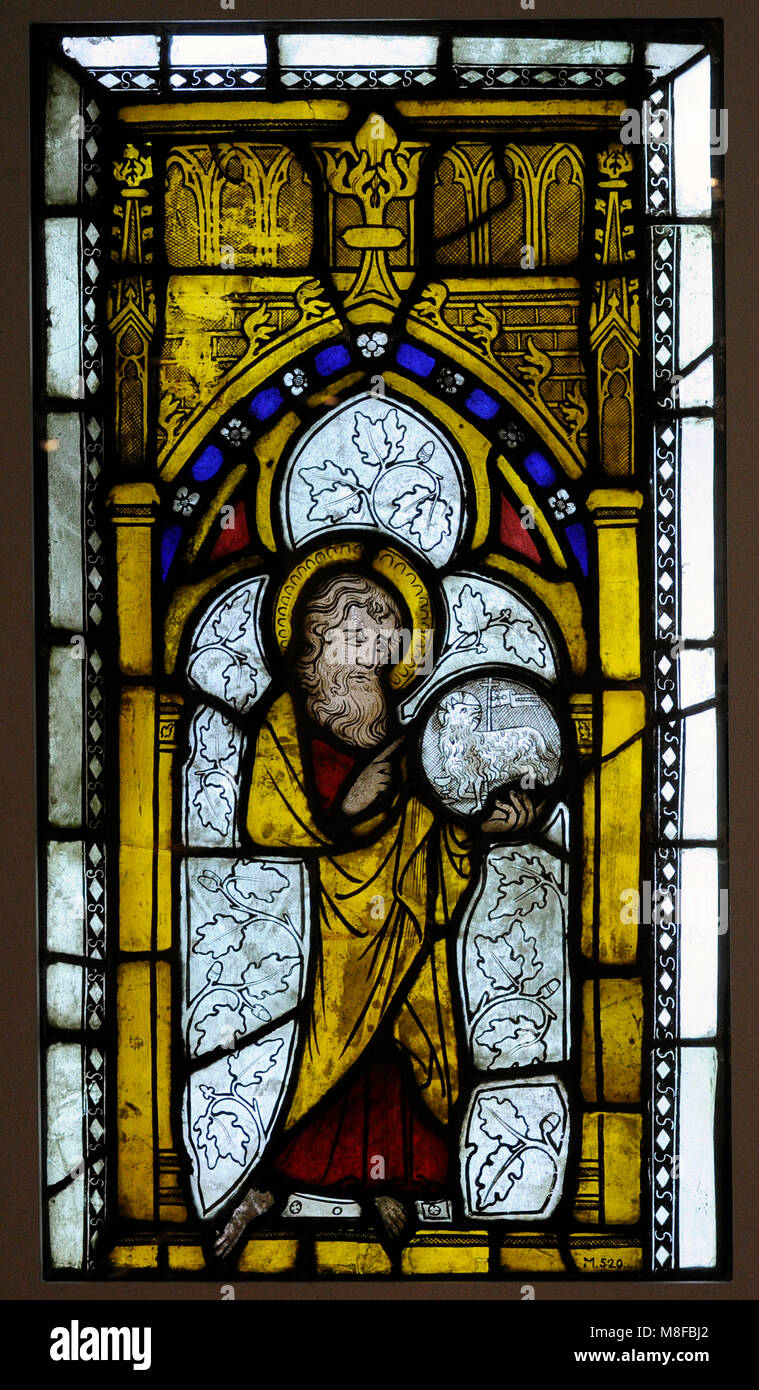 St. John the Baptist. Cologne, 1st quarter of the 14th century, Germany. Stained glass. Schnütgen Museum. Cologne, - Stock Image