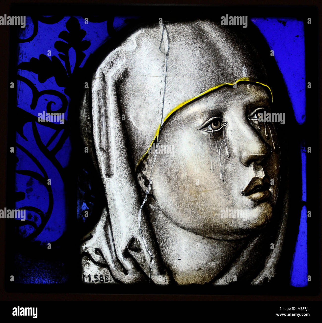 Head of Our Lady of Sorrows. Cologne, 2nd quarter of the 16th century. Stained glass. Schnütgen Museum. Cologne, - Stock Image
