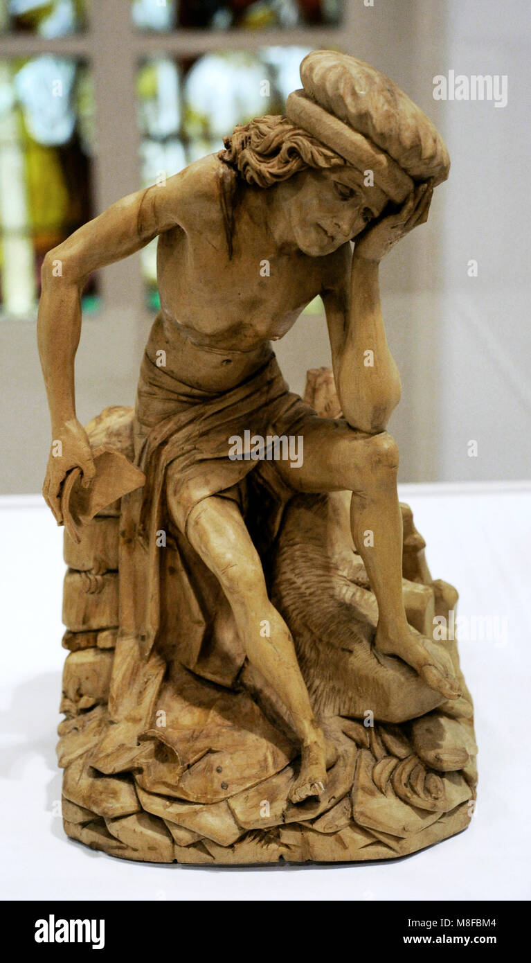The Suffering of Job. Circle of Hans Wydyz, Freiburg im Breisgau, c. 1500. Lime. Germany. Schnütgen Museum. - Stock Image