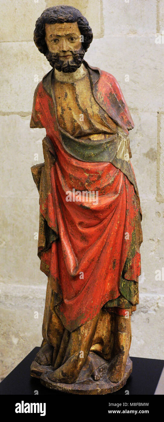Saint Peter. Cologne, c. 1315-1320. Walnut, polychrome. Schnütgen Museum. Cologne, Germany. - Stock Image