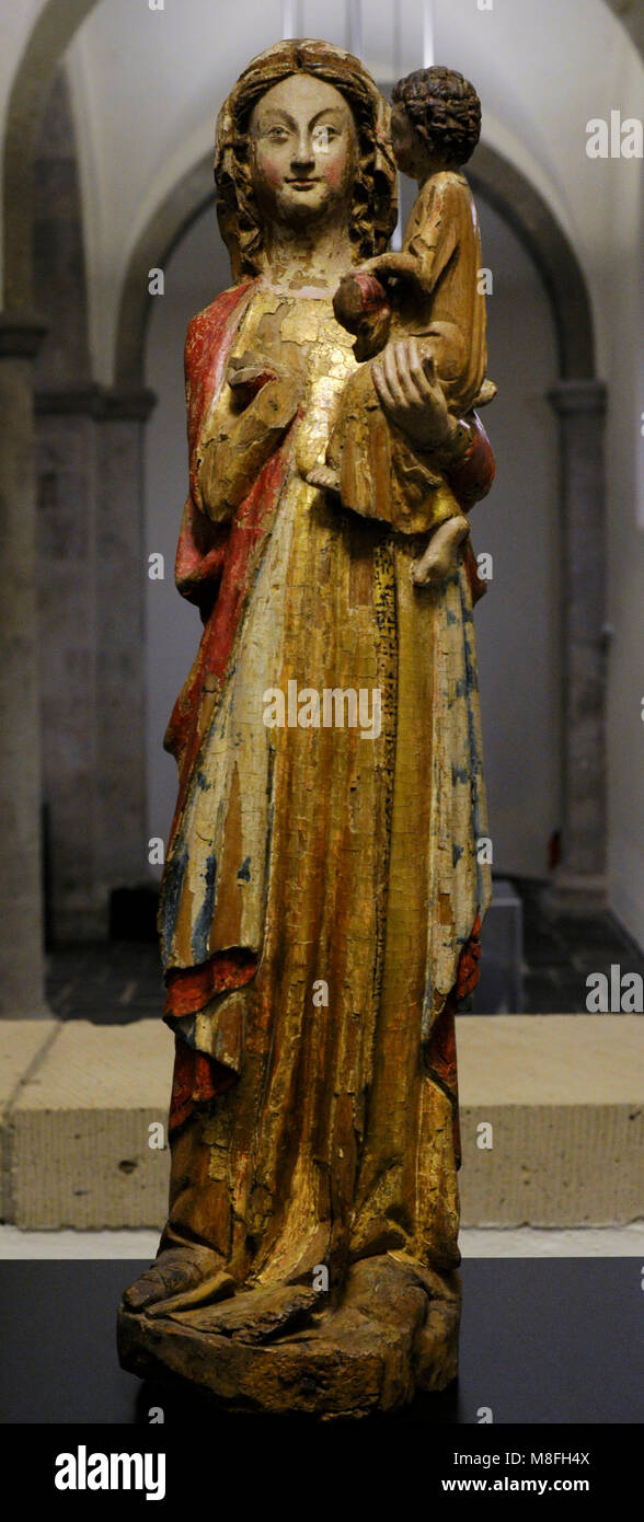 Ollesheim Madonna. Cologne, c. 1260-1270. Beech, polychrome. Schnütgen Museum. Cologne, Germany. - Stock Image