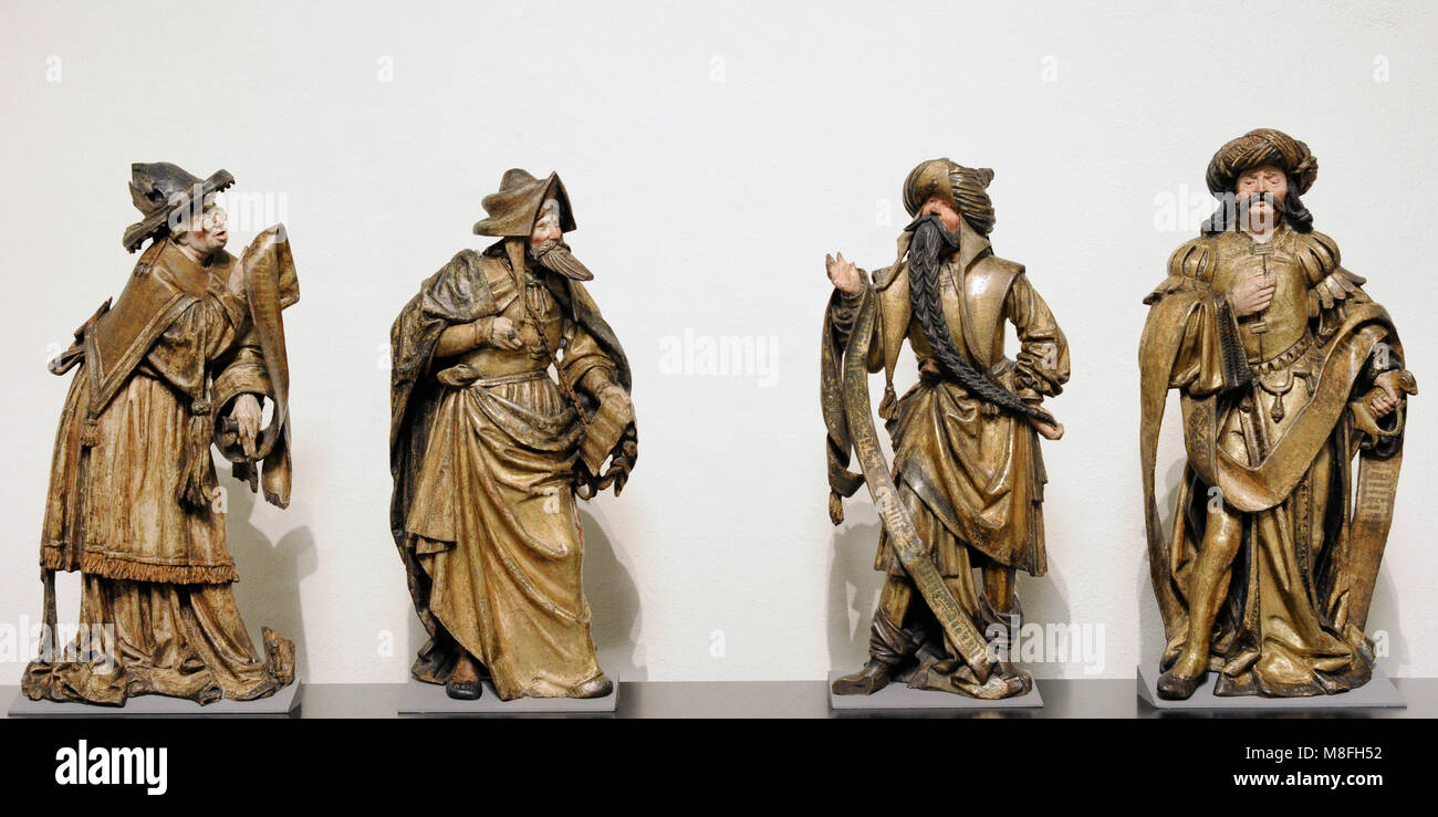 Four Patriarchs from a depiction of the Tree of Jesse. Antwerp, c. 1520. Oak, polychrome. Schnütgen Museum. - Stock Image