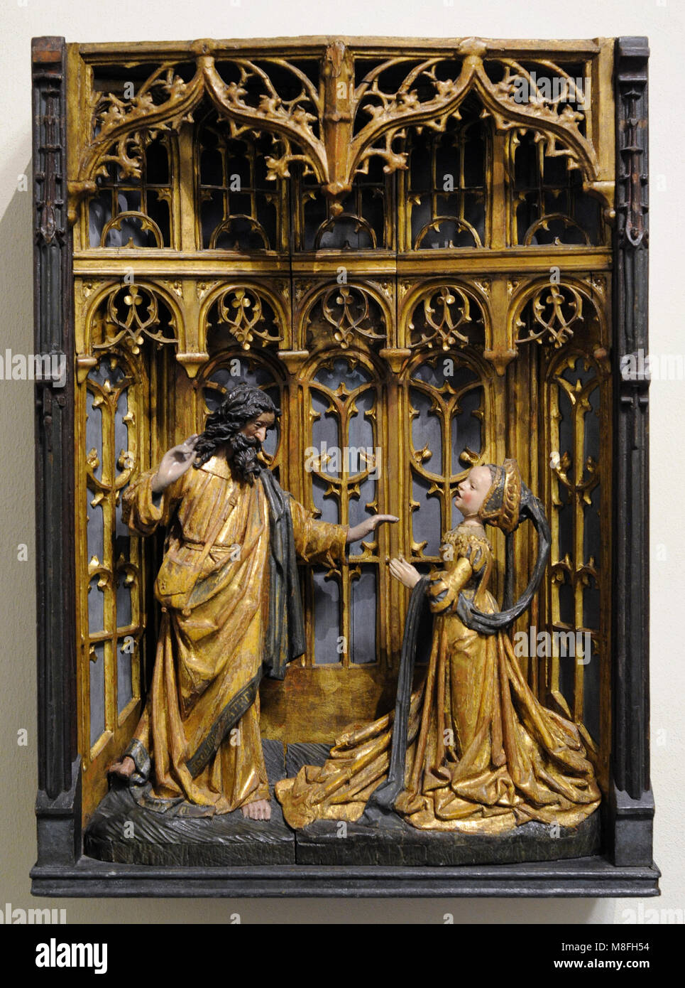 Christ appears to Mary Magdalene (Noli me tangere). Brussels, early 16th century and 19th century ? (shrine). Oak, - Stock Image