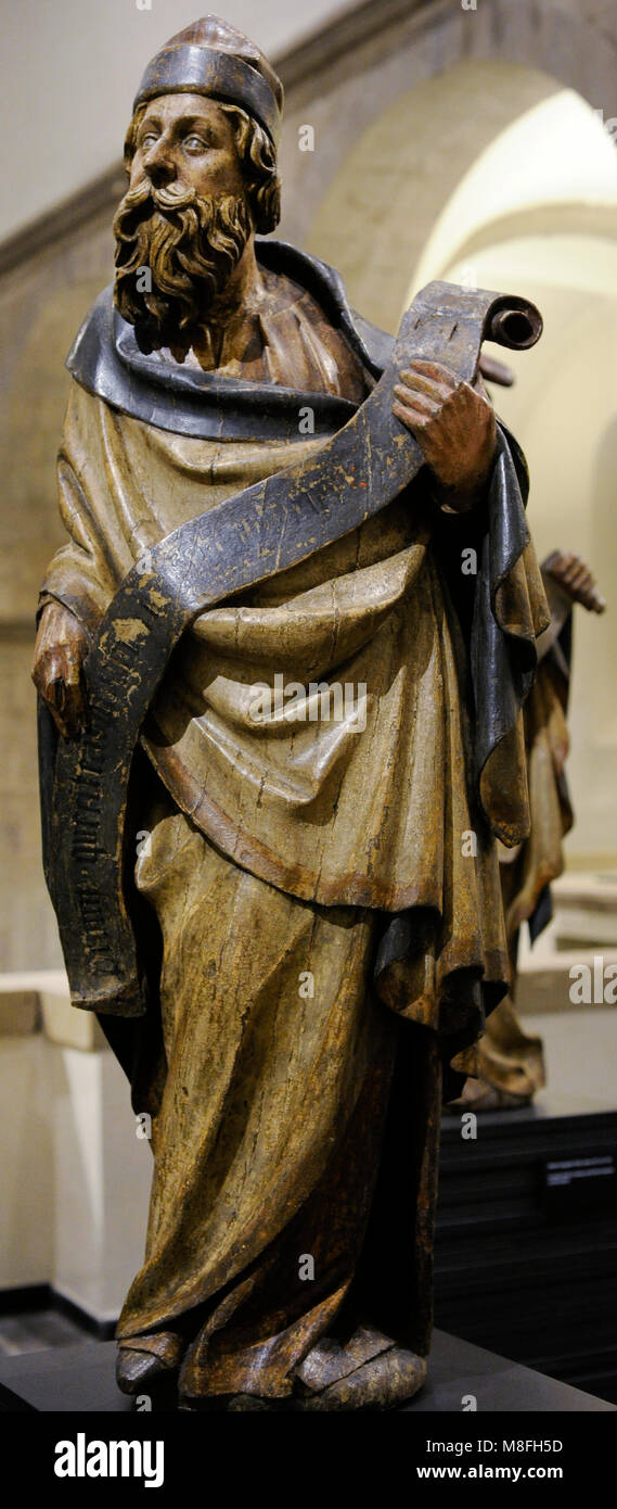 One of the Eight Prophets from the historical Cologne Town Hall. Cologne, c. 1430-1440. Germany. Oak, polychrome. - Stock Image
