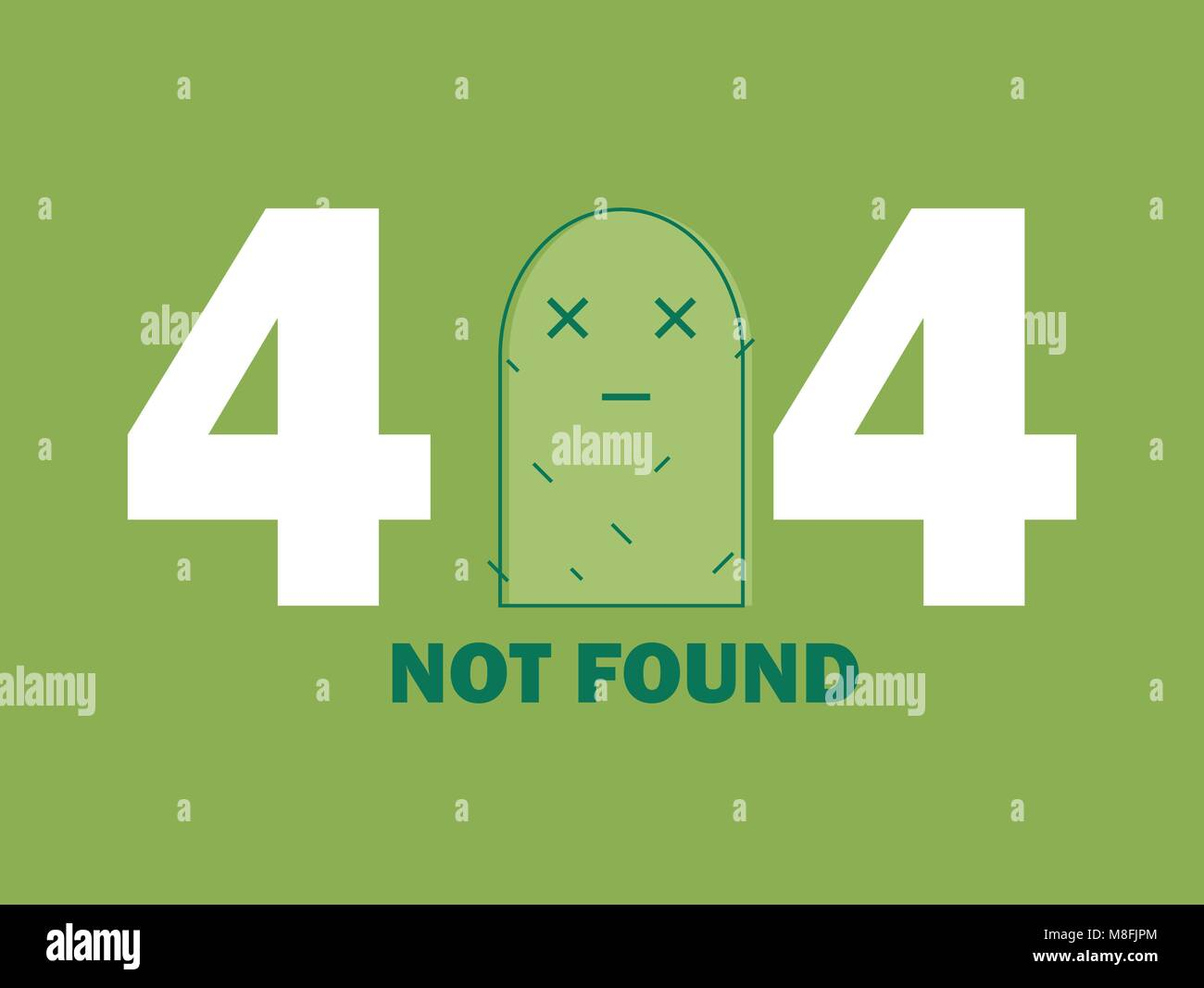 404 Error Page or File not Found icon. Cute green Cactus - Isolated UX UI vector illustration for web and mobile - Stock Image