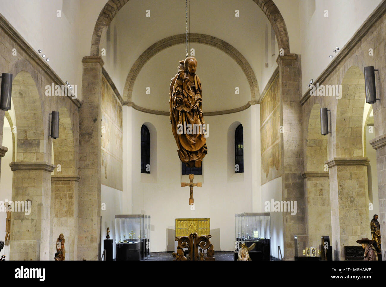 Schnütgen Museum. Interior view of the old Romanesque church where the museum is located. Cologne, Germany. - Stock Image