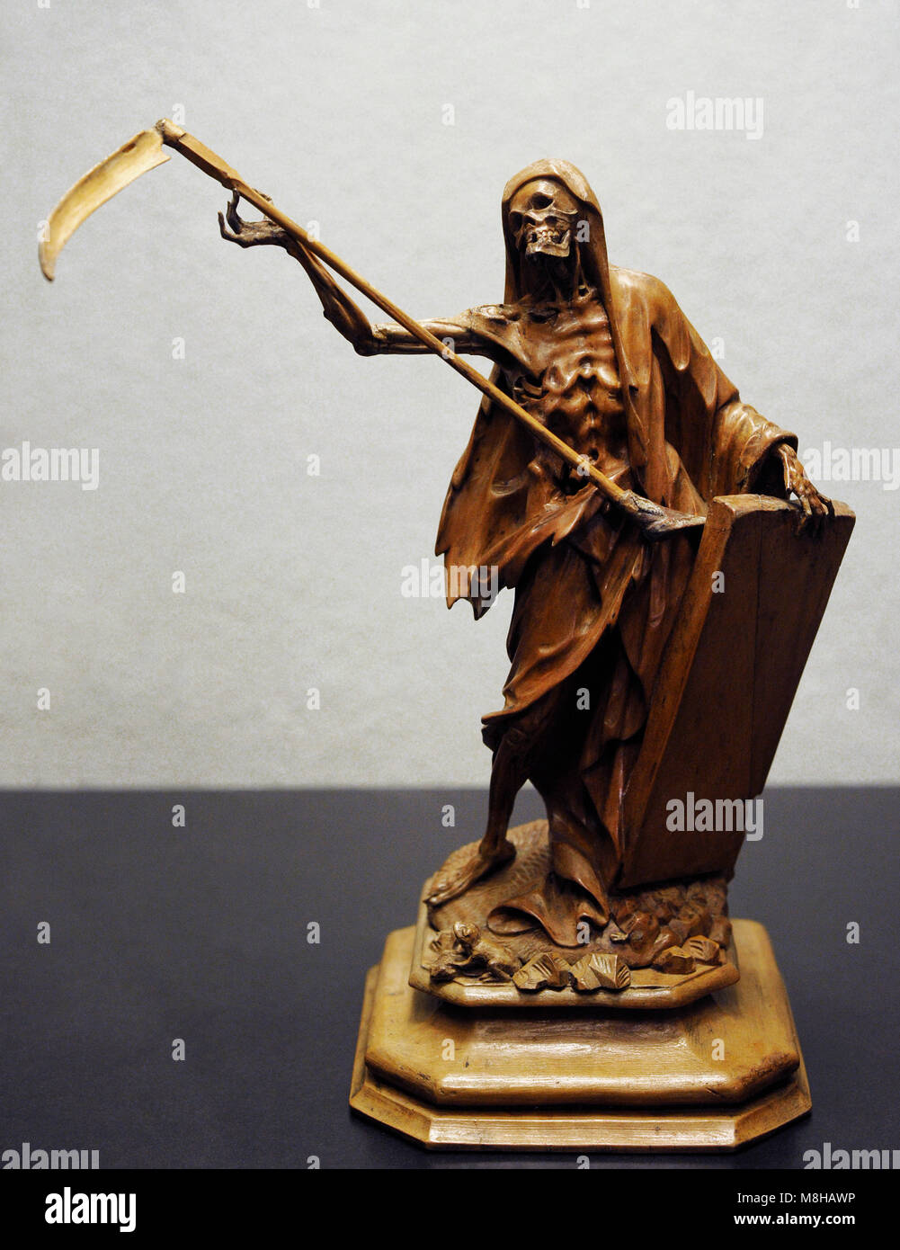 Death as the Grim Reaper. Southern Germany, 1750-1800. Wood. Museum Schnütgen. Cologne, Germany. - Stock Image