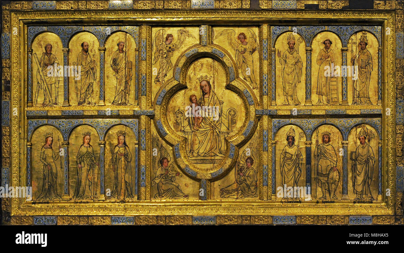 Golden panel from st. Ursula. Cologne, c. 1170. Painting: 15th century and 1844. Oak, gilt copper, cast bronze, - Stock Image