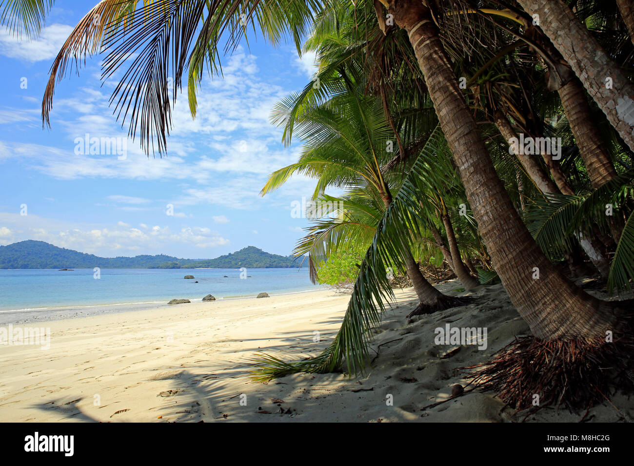Tropical Beach of Coibita, aka Rancheria, with Isla Coiba in the Background. Coiba National Park, Panama - Stock Image