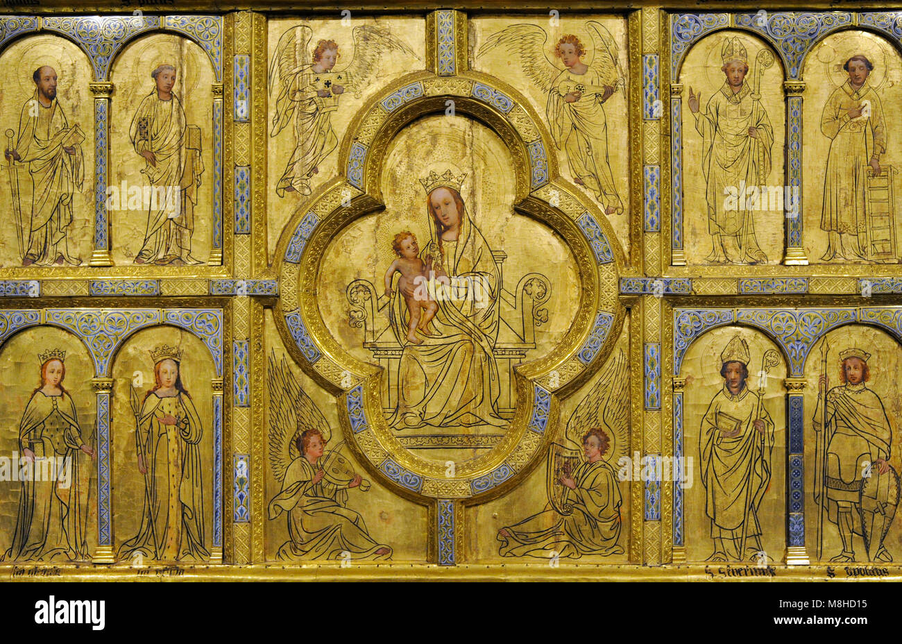 Golden panel from st. Ursula, detail. Cologne, c. 1170. Painting: 15th century and 1844. Oak, gilt copper, cast - Stock Image