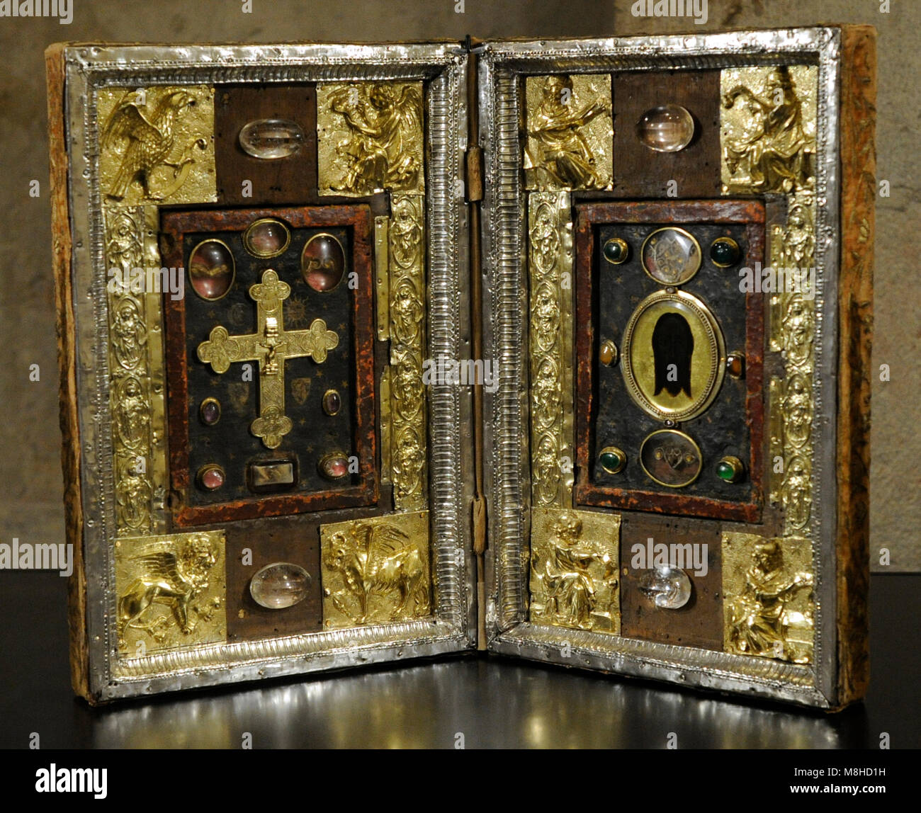 Reliquary Diptych. 14th century with later modifications. France. Reliefes: silver, repousse and gilded. Varieties - Stock Image