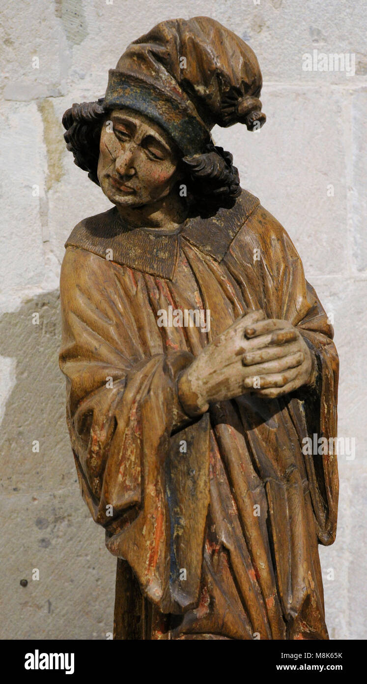 Nicodemus. Pharisee and member of the Sanhedrin, a ruler of the Jews. Mentioned in the Gospel of John. Carving, - Stock Image