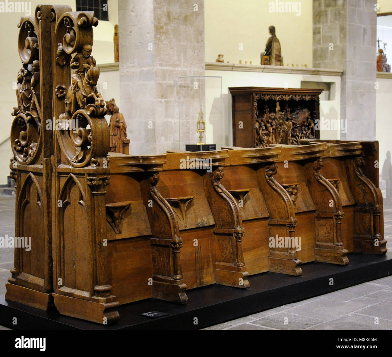 Choir Stalls of the former Collegiate Church of St. George from Wassenberg on the Lower Rhine, Germany, c. 1298. - Stock Image
