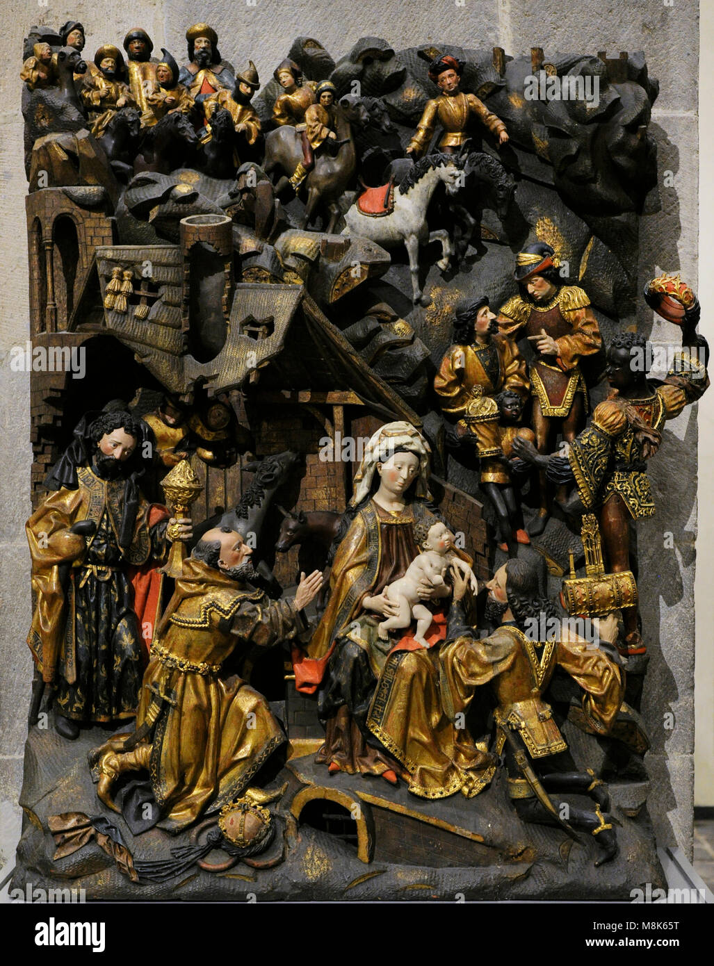 Adoration of the Magi. Master Arnt of Kalkar and Zwolle, Lower Rhine, Germany, 1480-1485. Oak, polychrome. Museum - Stock Image