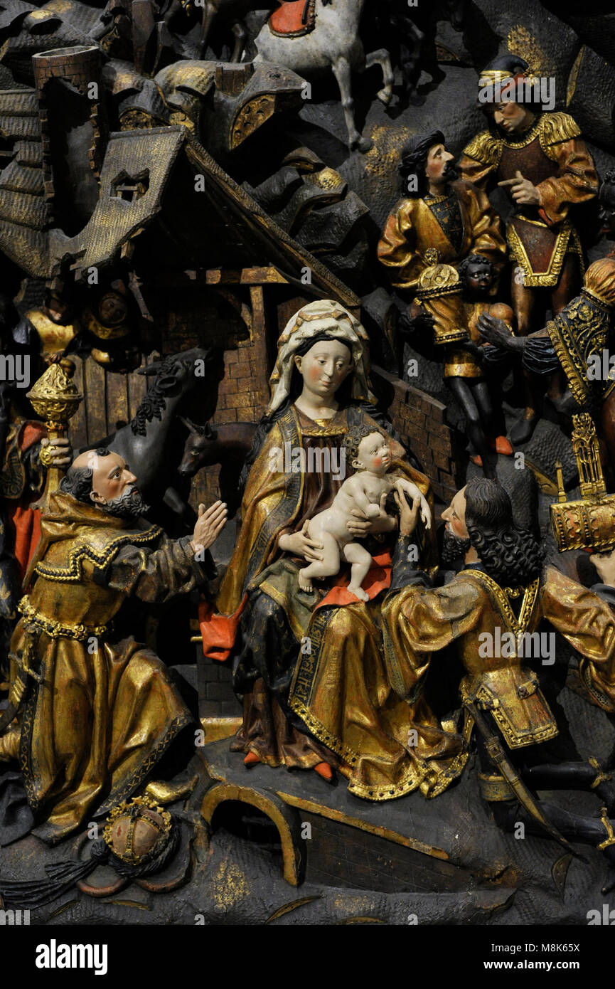Adoration of the Magi. Detail. Master Arnt of Kalkar and Zwolle, Lower Rhine, Germany, 1480-1485. Oak, polychrome. - Stock Image