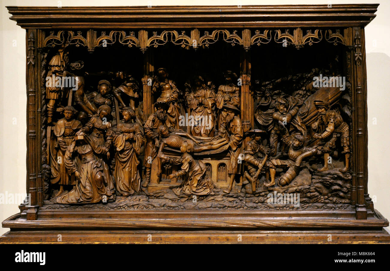 Socle of an altarpiece, predella with scenes from the Passion of Christ. Follower of Henrik Douwermann, Kalkar (?), - Stock Image