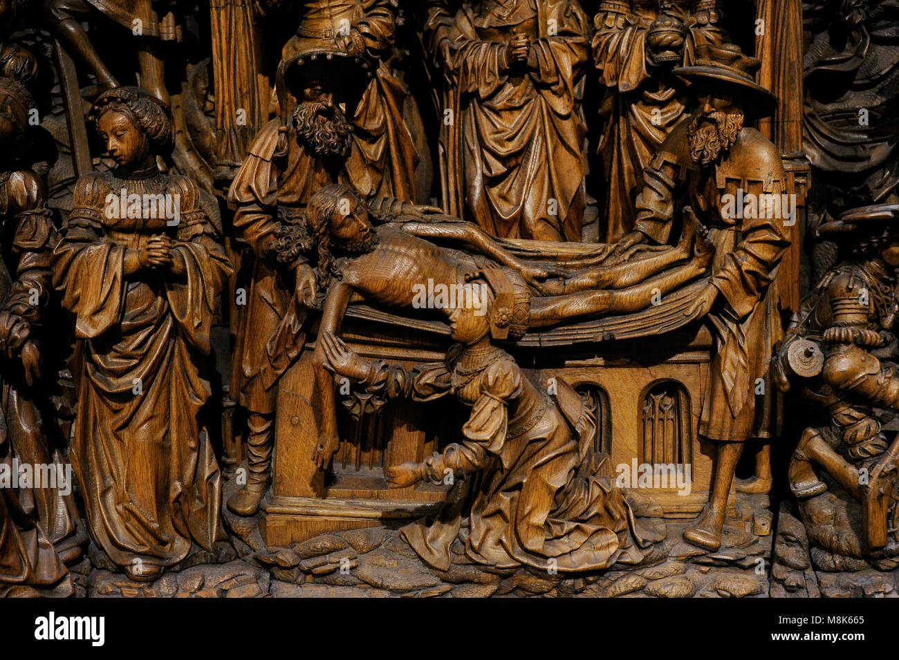 Socle of an altarpiece, predella with scenes from the Passion of Christ. Detail. Follower of Henrik Douwermann, - Stock Image