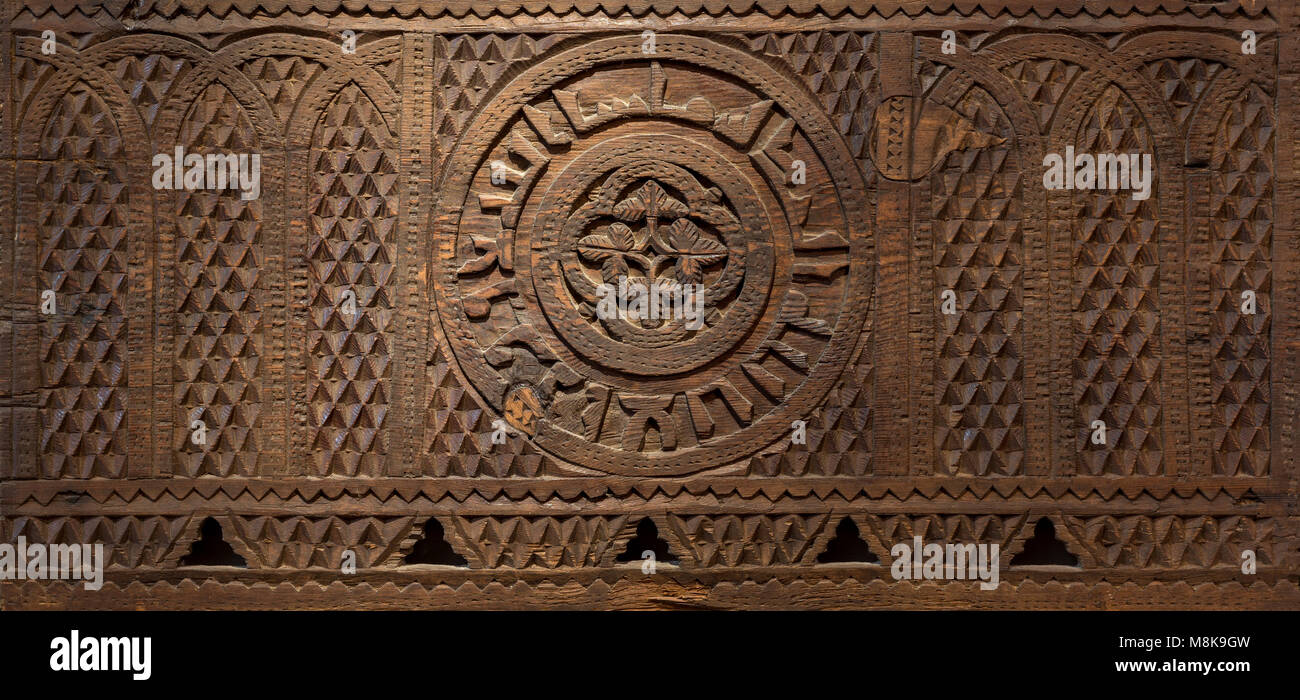 Mamluk era style wooden sculpted panel decorated with floral and geometric patterns, Museum of Islamic Art, Cairo, - Stock Image