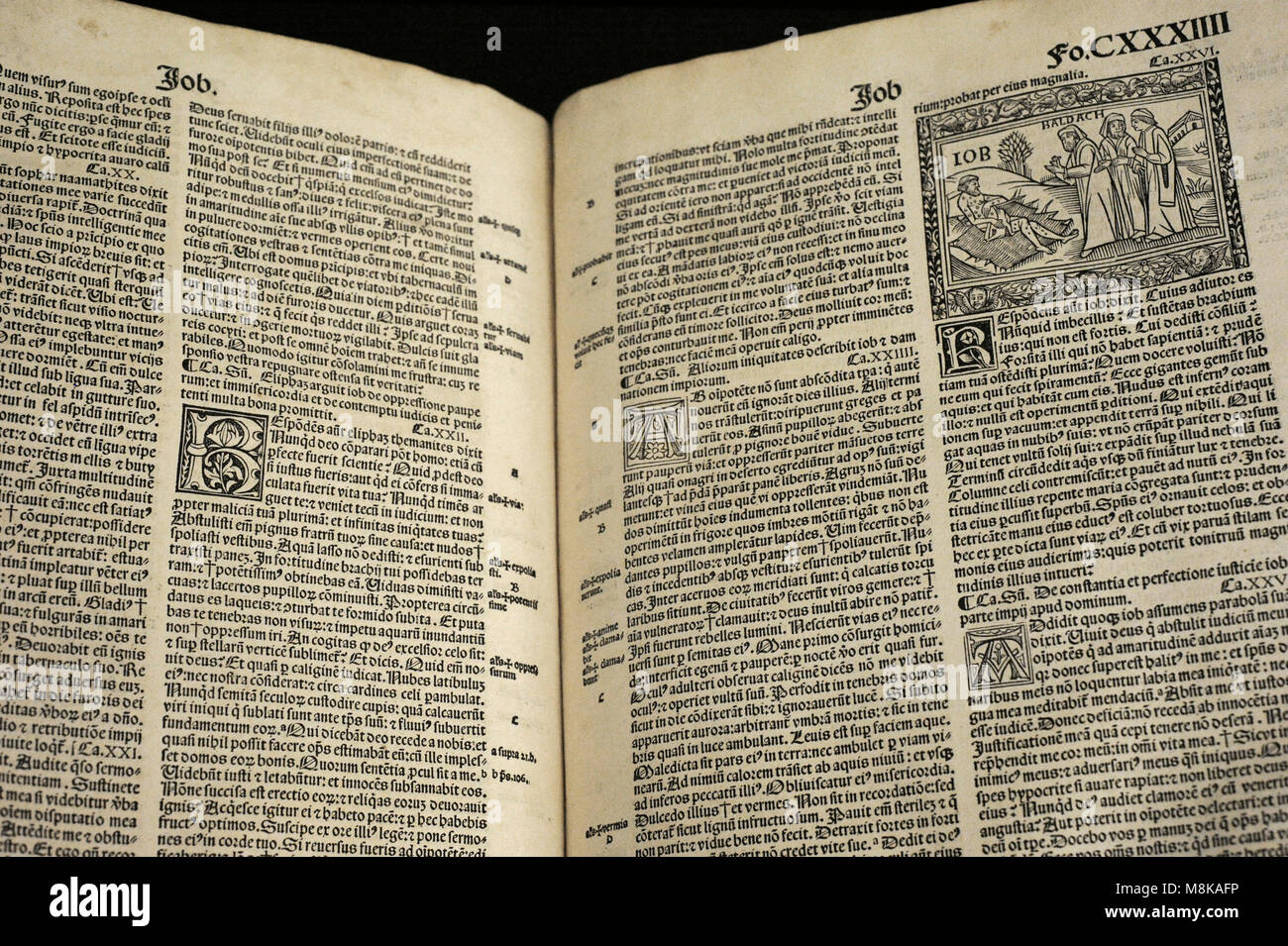 Latin Bible. Printed in Nuremberg, 1512. Museum Schnütgen. Cologne, Germany. - Stock Image