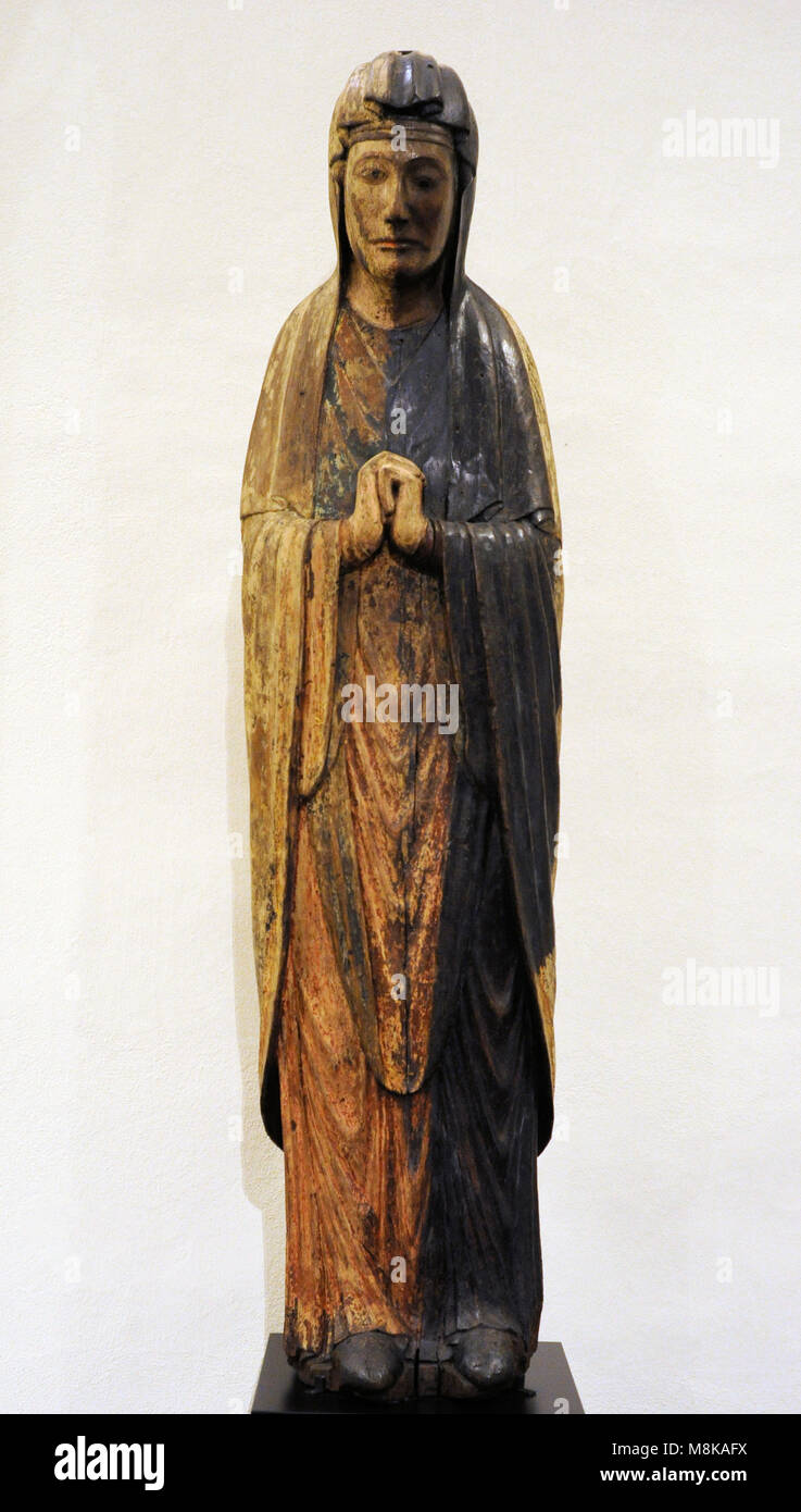 Mourning Virgin from the Triumphal Crucifixion from Sonnenburg, Puster Valley (South Tyrol), Italy. Late 12th century. - Stock Image