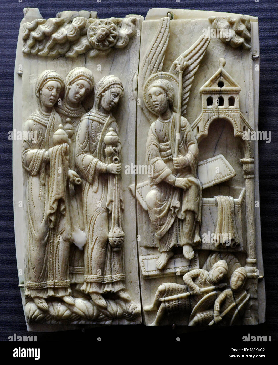 The Three Mayrs at the Sepulchre. Cologne, c. 1150-1160. Germany. Walrus ivory. Museum Schnütgen. Cologne, - Stock Image