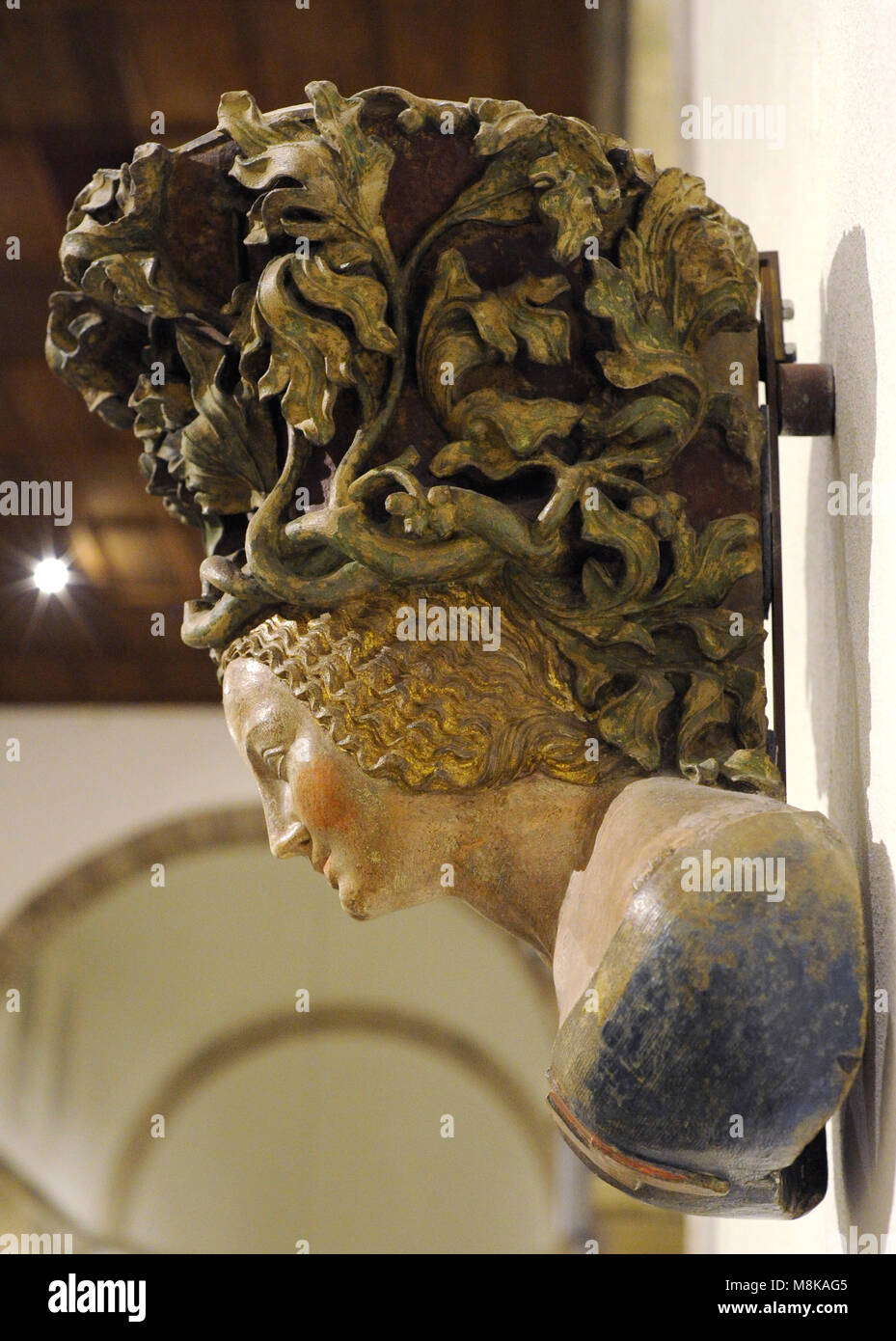 Corbel bust with the Parler crest. Cologne workshop of the Parlers, c. 1390. Sandstone, polychrome. Museum Schnütgen. - Stock Image
