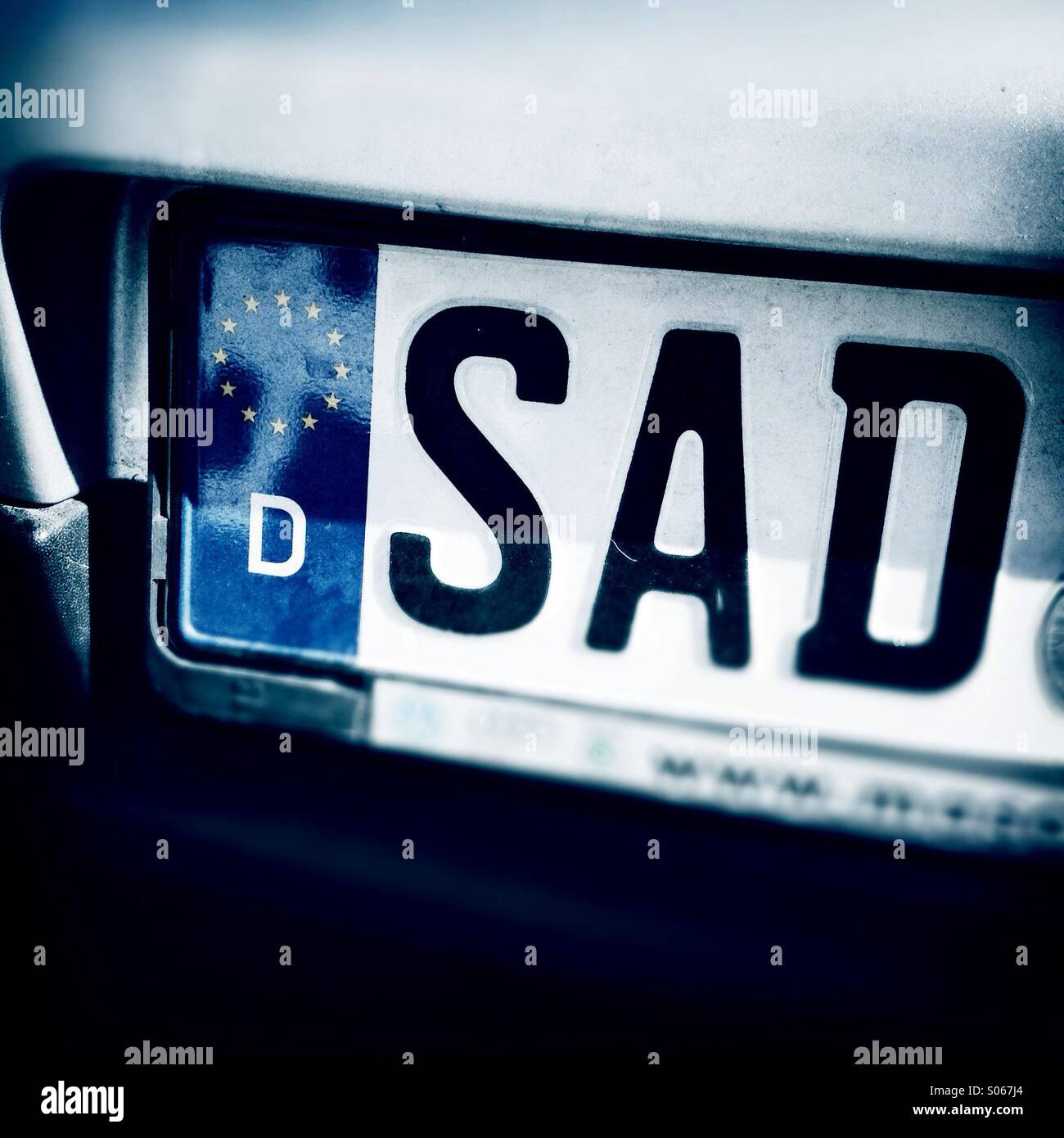 Sad letters. License plate of Schwandorf, Bayern, Germany, Europe Stock Photo