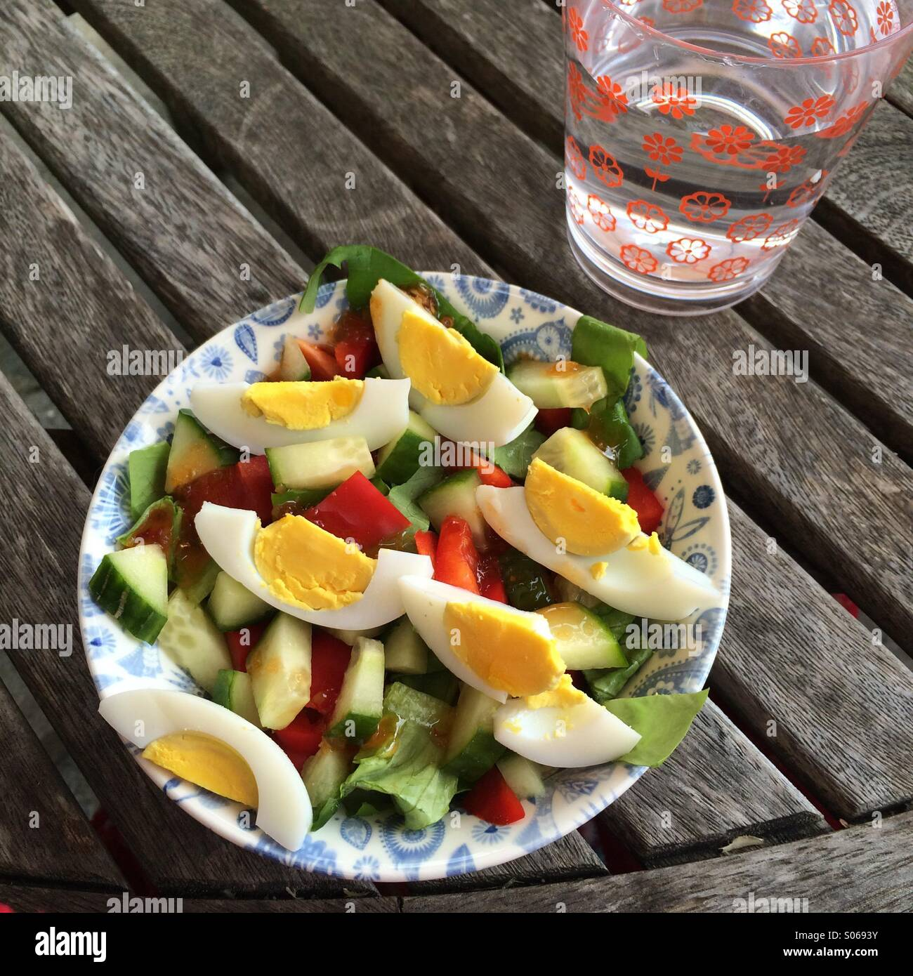 Healthy salad and water Stock Foto
